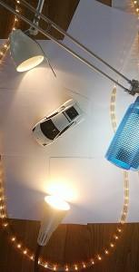 Das Licht-Setup. Lichterkette und 3 Lampen.